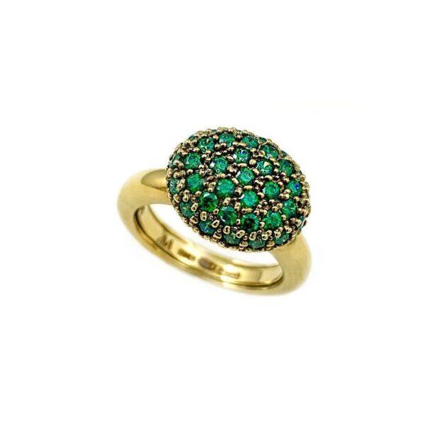 Anello in argento laminato con zirconi verdi