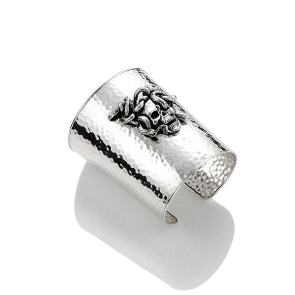 Bracciale bangle Vanitas in argento con teschio e serpenti