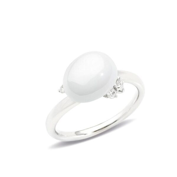 Anello Capri in oro bianco rodiato con ceramica bianca e diamanti