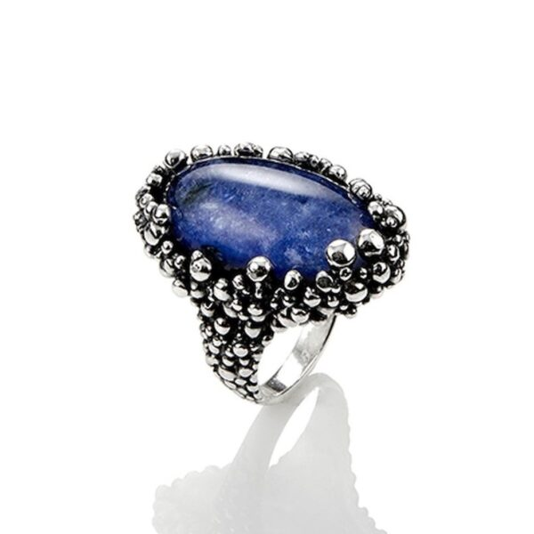 Anello Perlage in argento con cristallo rocca e sodalite
