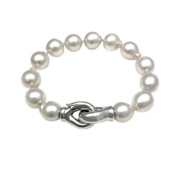 Bracciale di perle con chiusura in oro bianco