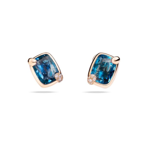 Orecchini Ritratto in oro rosa con topazio blu London e diamanti