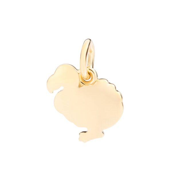 Ciondolo Dodo in oro giallo 18kt con cordino nero incluso.