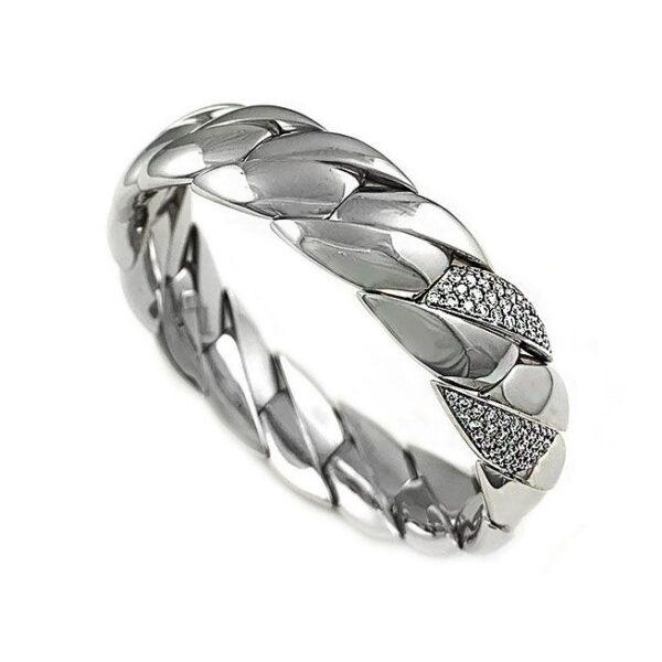 Bracciale in oro bianco elastico con diamanti
