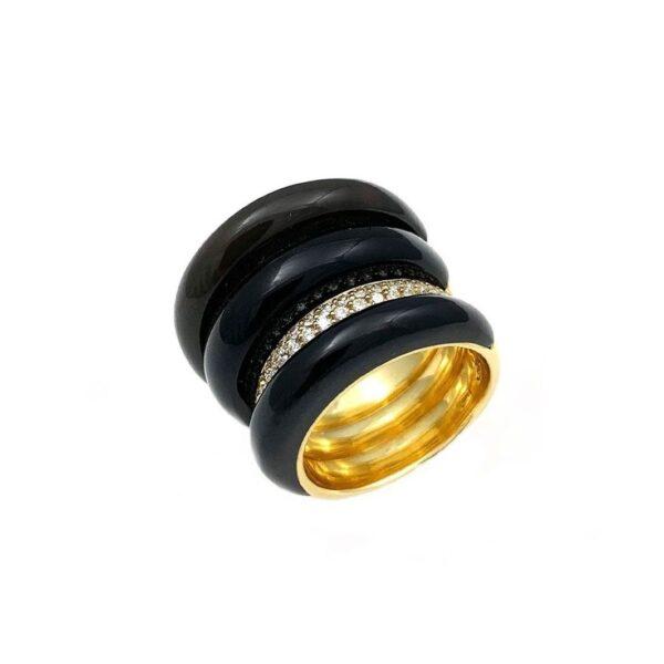 Anello Joyful a fascia in oro giallo a 4 fedi con giada nera, ossidiana, madreperla e diamanti