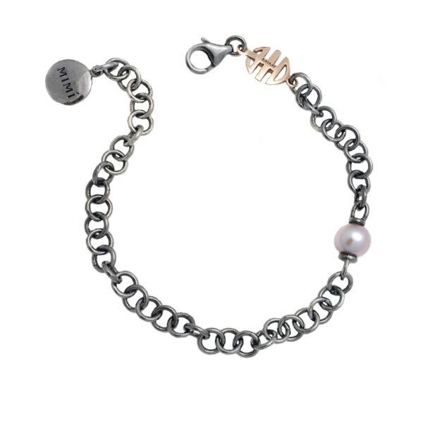 Bracciale in argento brunito e oro rosa con perla