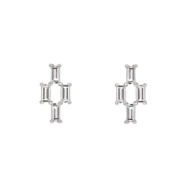 Orecchini LIGHT/BEAM in platino con diamanti baguette