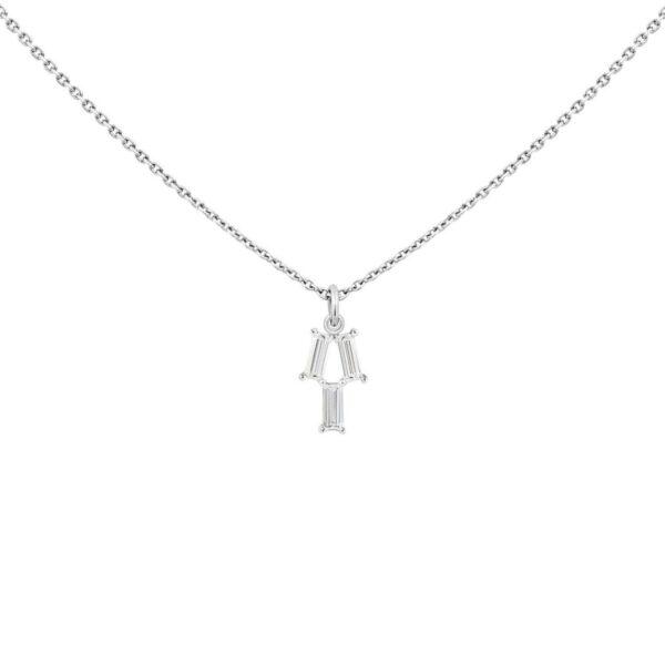 Girocollo pendente LIGHT/BEAM in platino con diamanti baguette