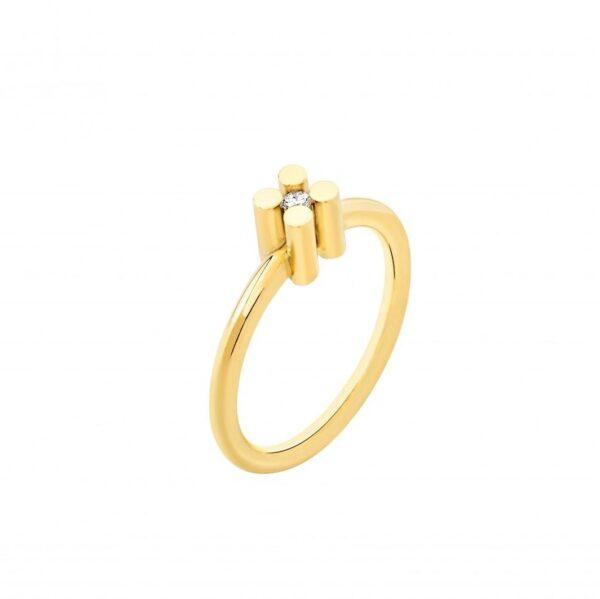 Anello solitario AUGUST in oro giallo con diamante