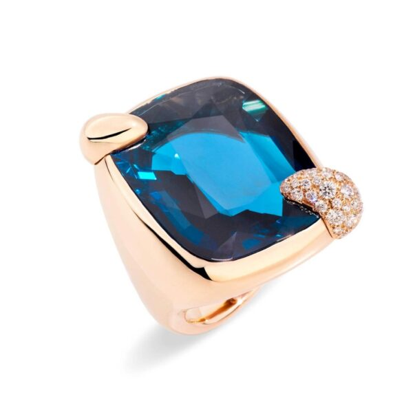 Anello Ritratto in oro rosa con topazio blu London e diamanti