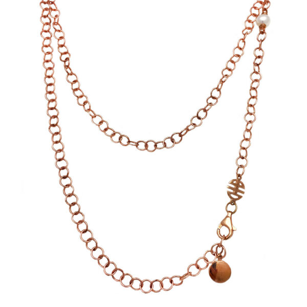 Catena in oro rosa con perla