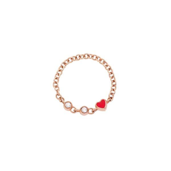 Anello Messaggio a catena in oro rosa 9kt con smalto rosso e diamanti