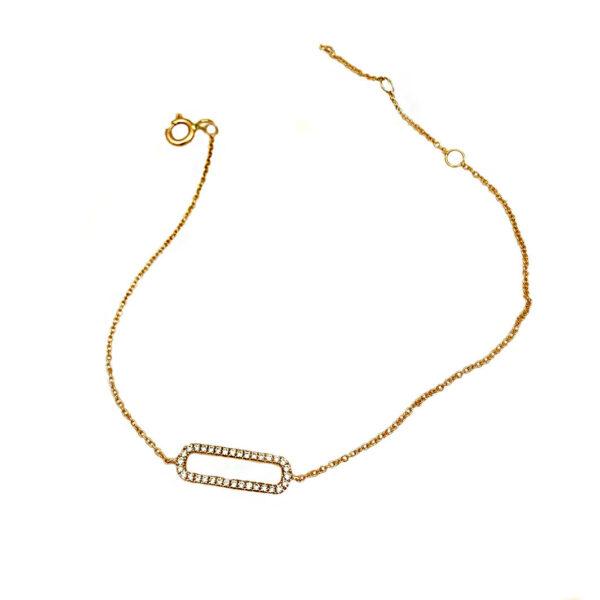 Bracciale catena micro con ovalino in oro rosa e diamanti