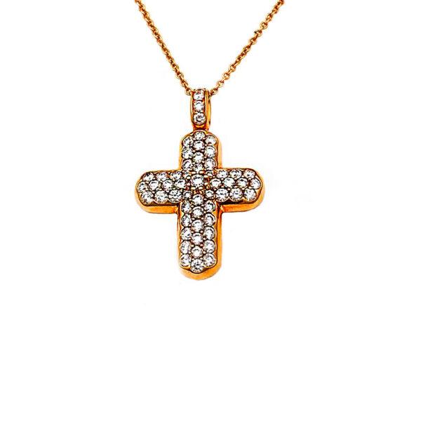 Girocollo in oro rosa croce con diamanti