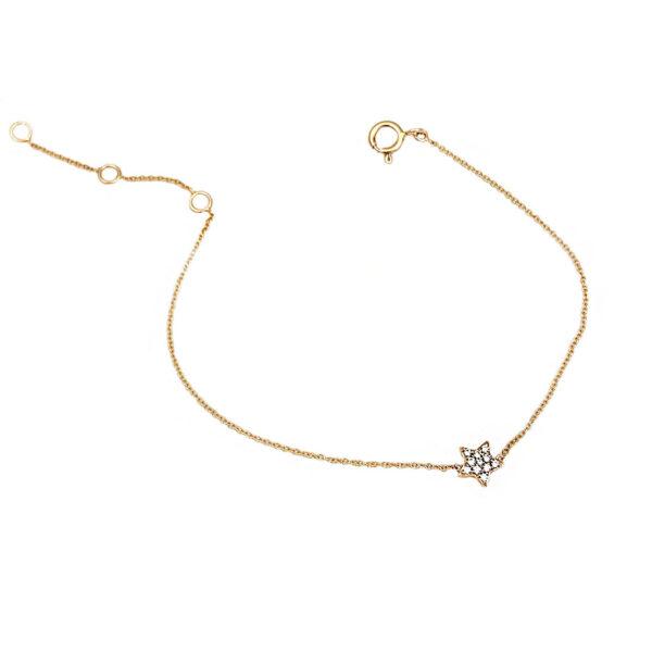 Bracciale stellina in oro rosa e diamanti