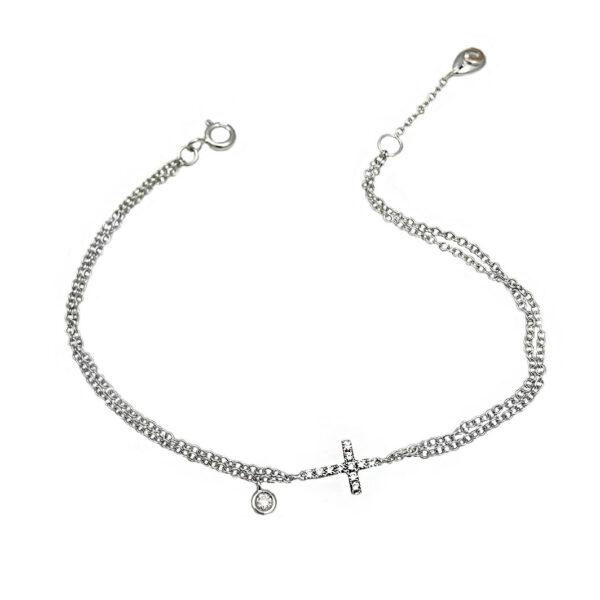 Bracciale doppia catenella con croce piccola in oro bianco e diamanti