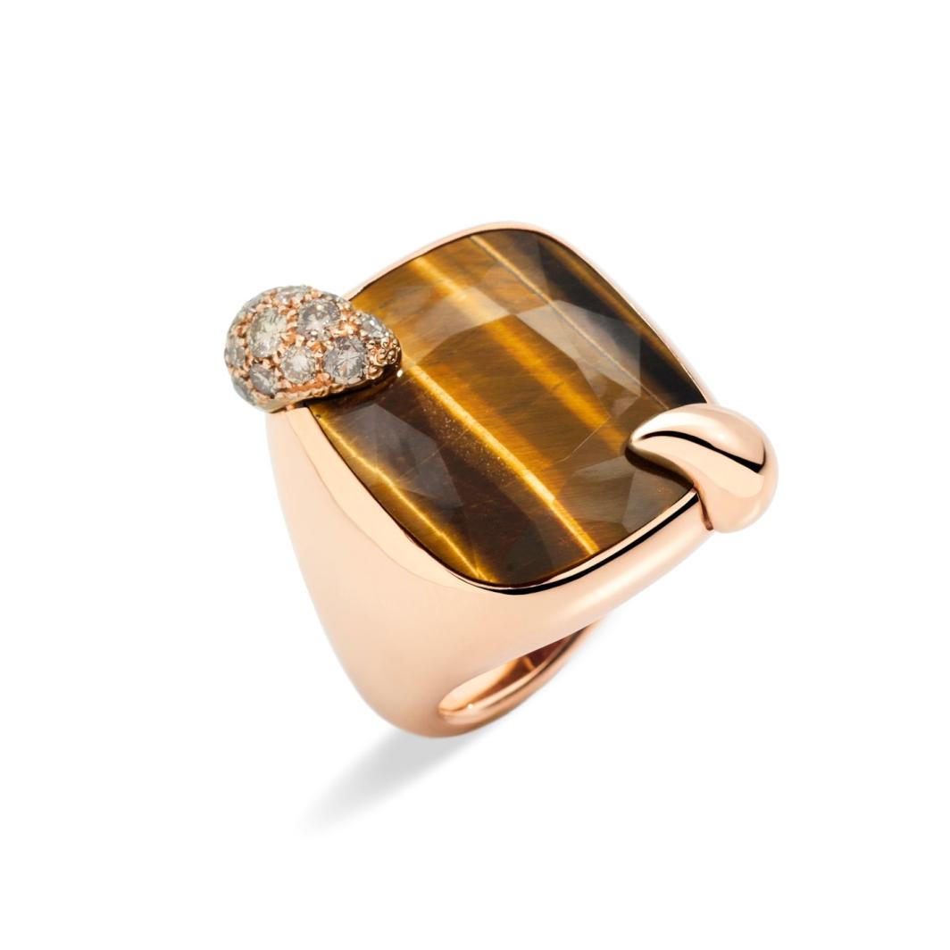 Anello Ritratto in oro rosa con occhio di tigre e diamanti brown